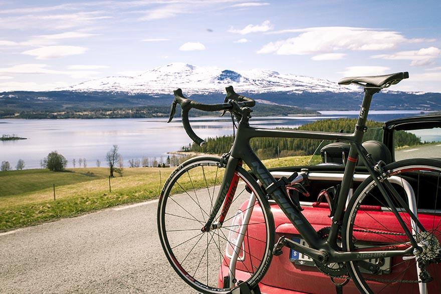 cykelställ mini cooper nishiki landsvägscykel
