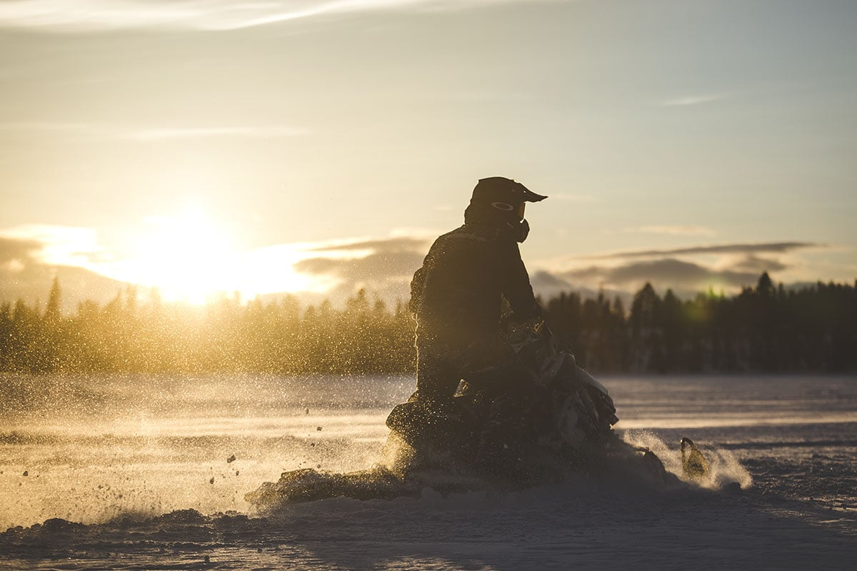 golden hour snowmobile